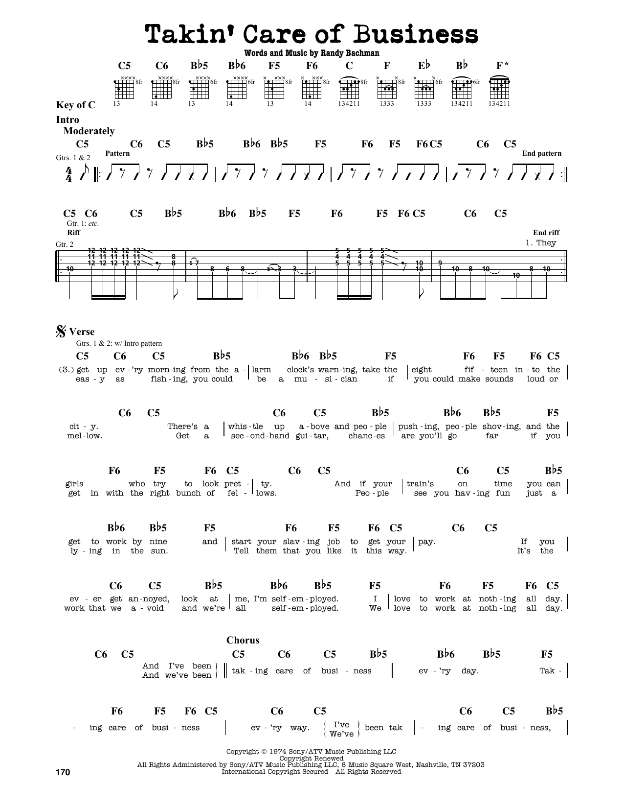 Partition autre Takin' Care Of Business de Bachman-Turner Overdrive - Tablature Guitare Lead