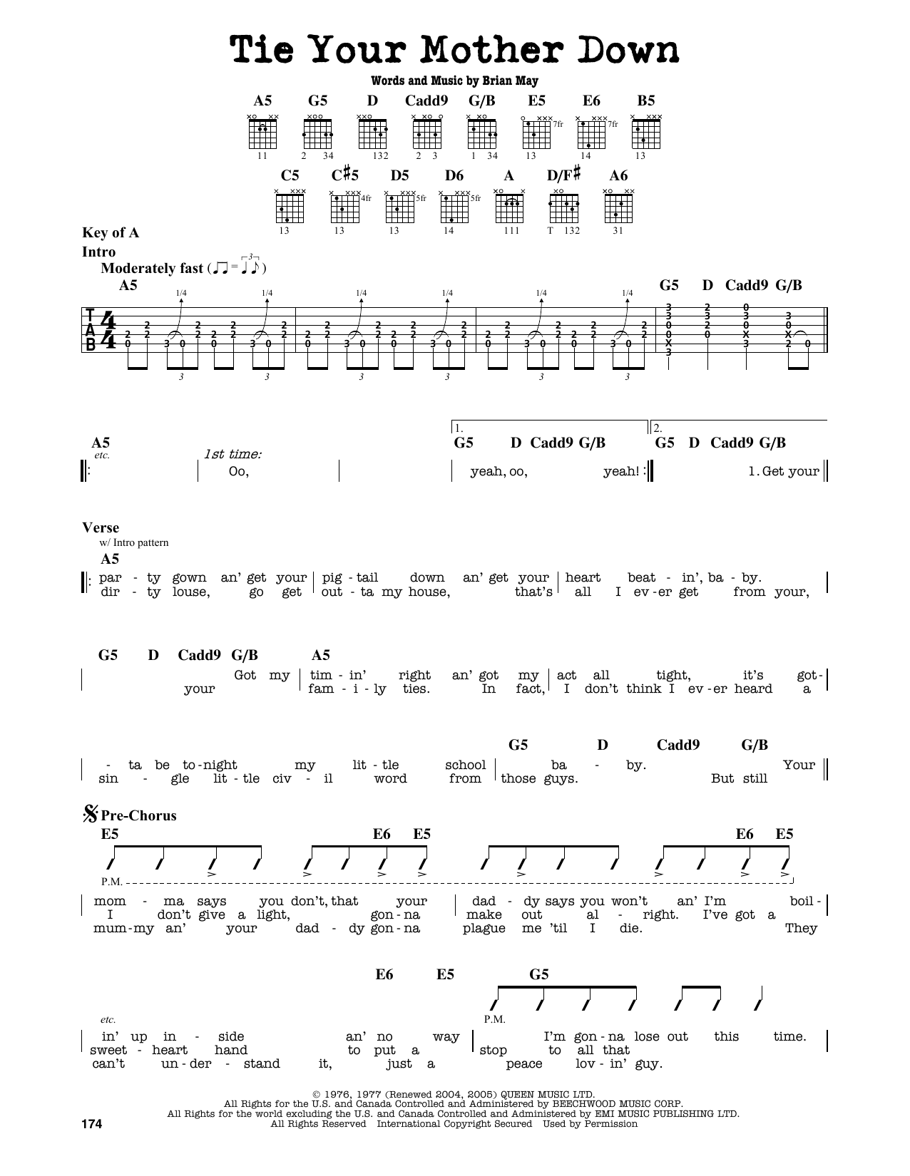 Partition autre Tie Your Mother Down de Queen - Tablature Guitare Lead