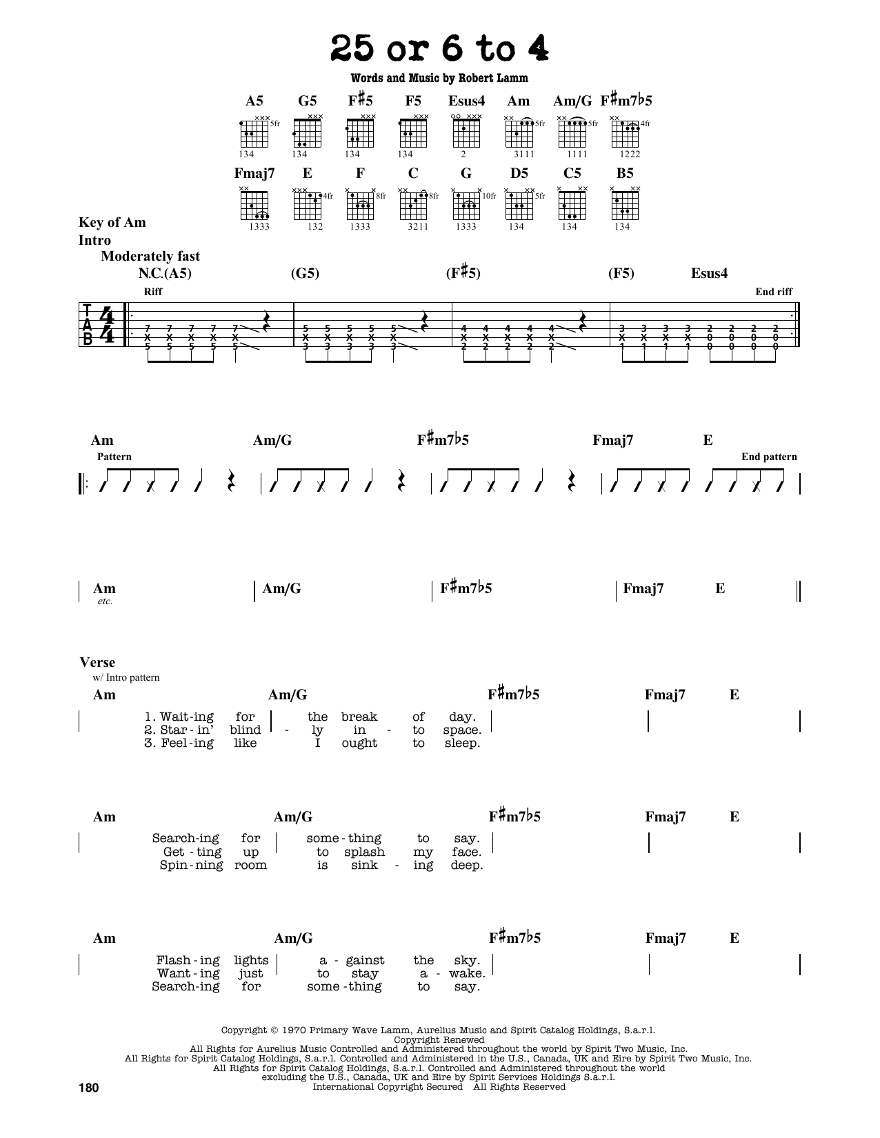Partition autre 25 Or 6 To 4 de Chicago - Tablature Guitare Lead