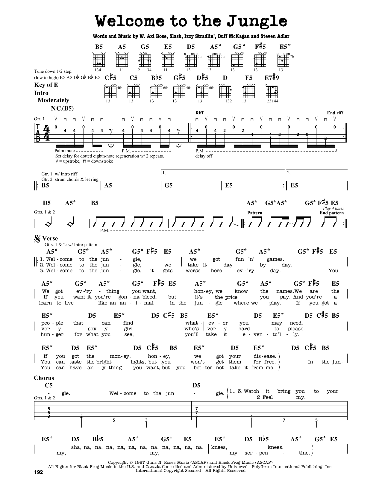 Partition autre Welcome To The Jungle de Guns N' Roses - Tablature Guitare Lead