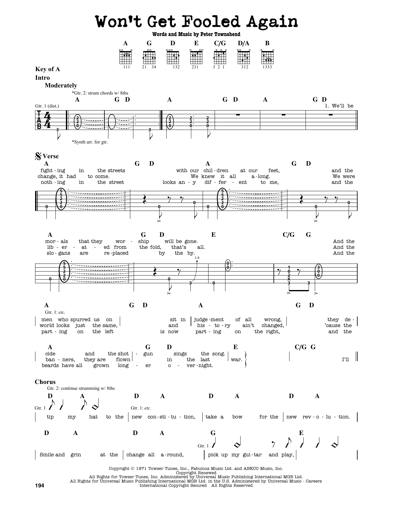 Partition autre Won't Get Fooled Again de The Who - Tablature Guitare Lead