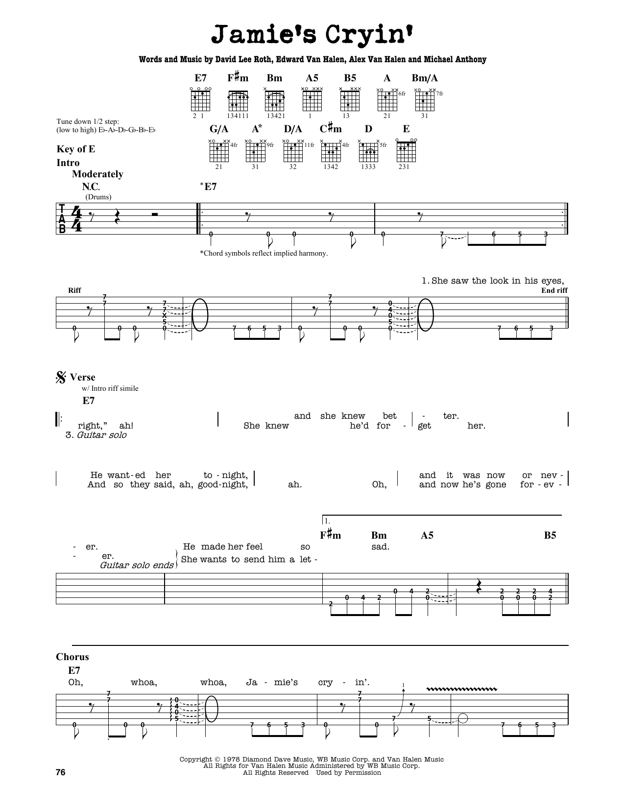 Partition autre Jamie's Cryin' de Van Halen - Tablature Guitare Lead