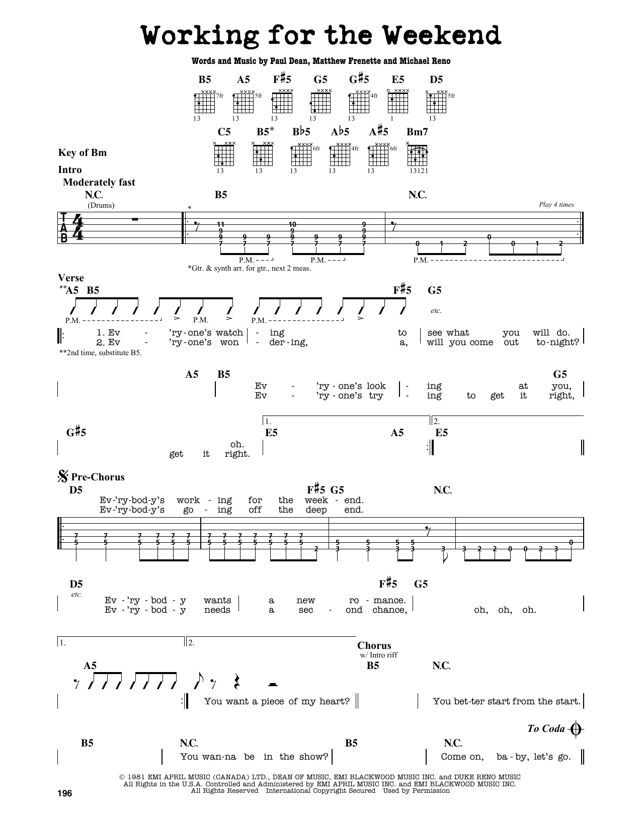 Partition autre Working For The Weekend de Loverboy - Tablature Guitare Lead