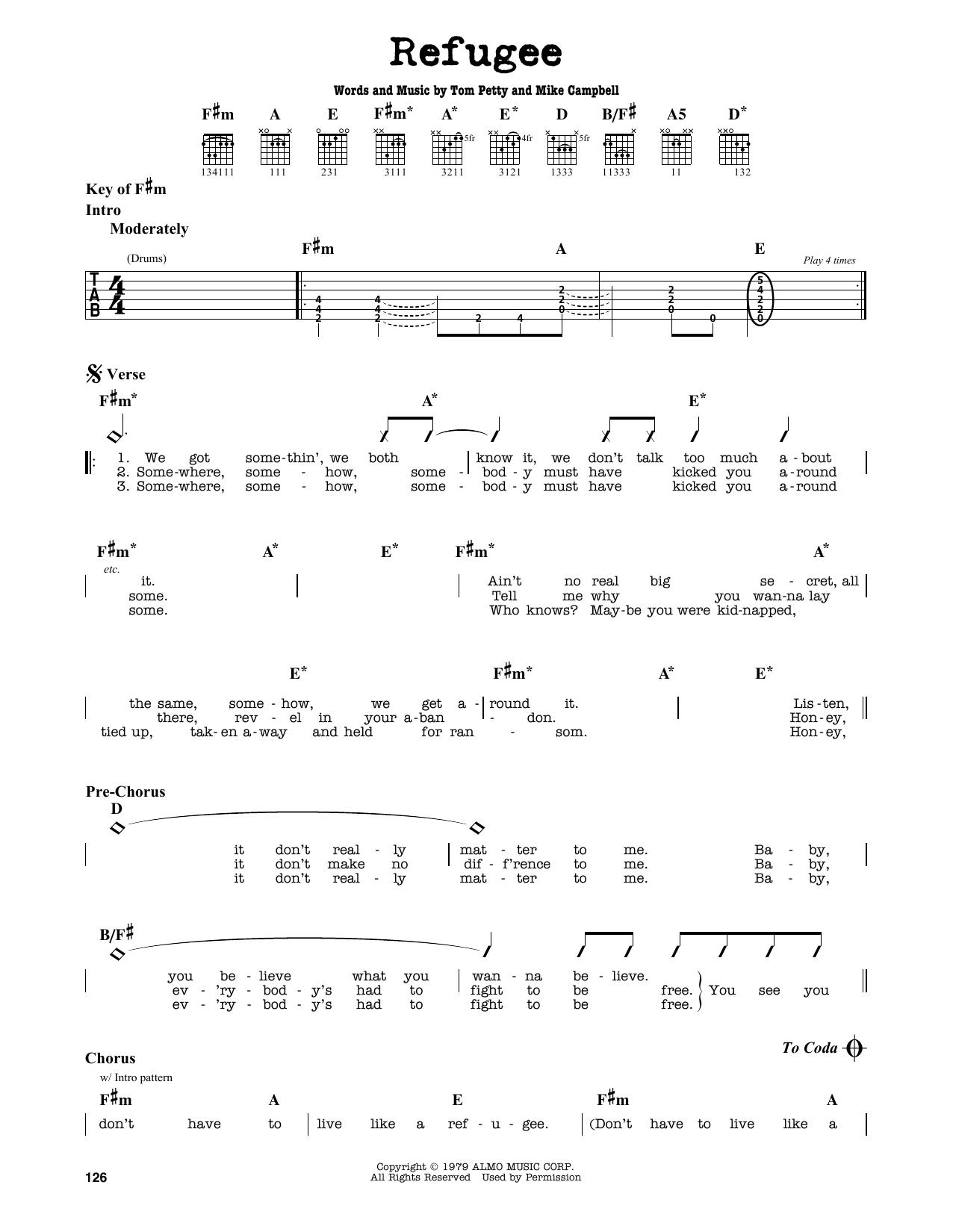 Partition autre Refugee de Tom Petty - Tablature Guitare Lead