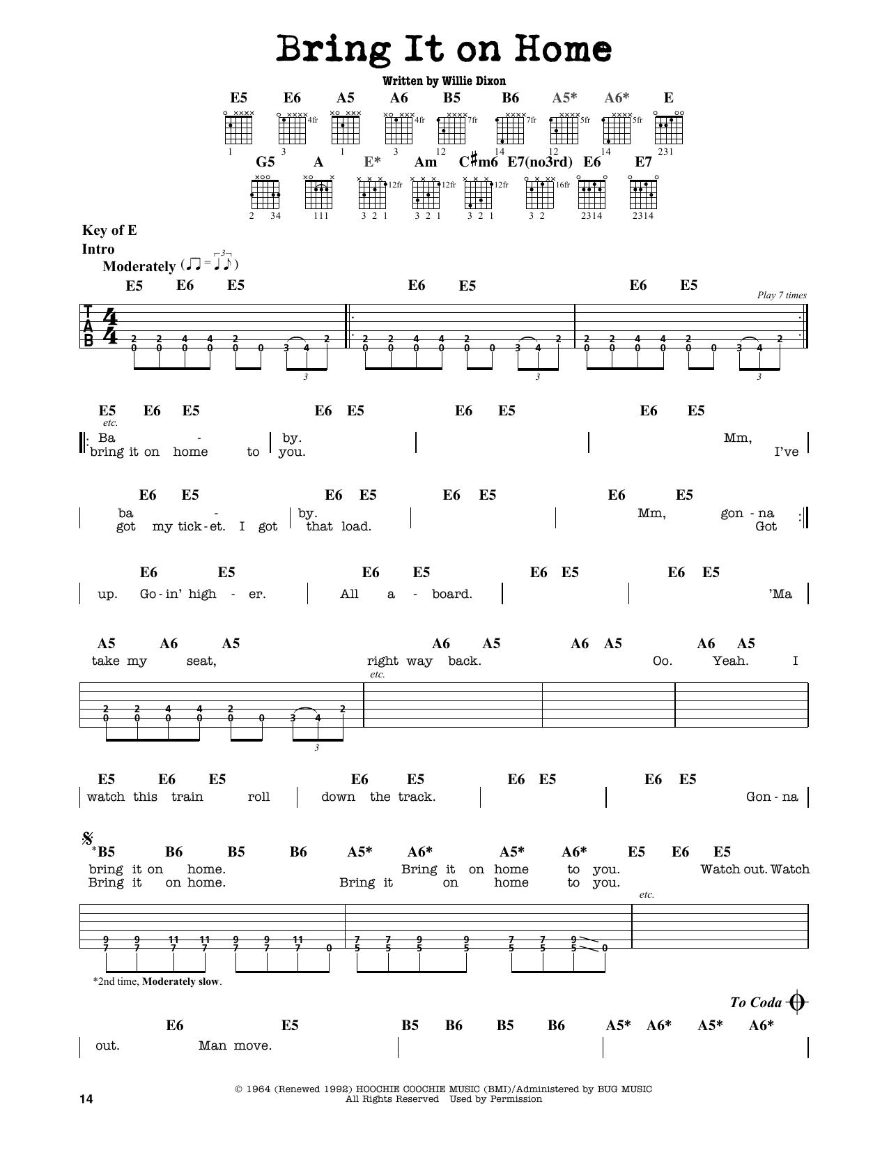 Partition autre Bring It On Home de Sonny Boy Williamson - Tablature Guitare Lead