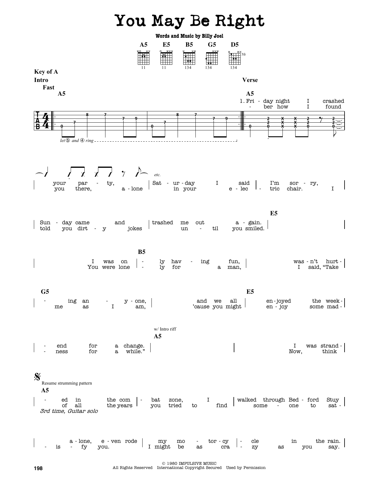 Partition autre You May Be Right de Billy Joel - Tablature Guitare Lead