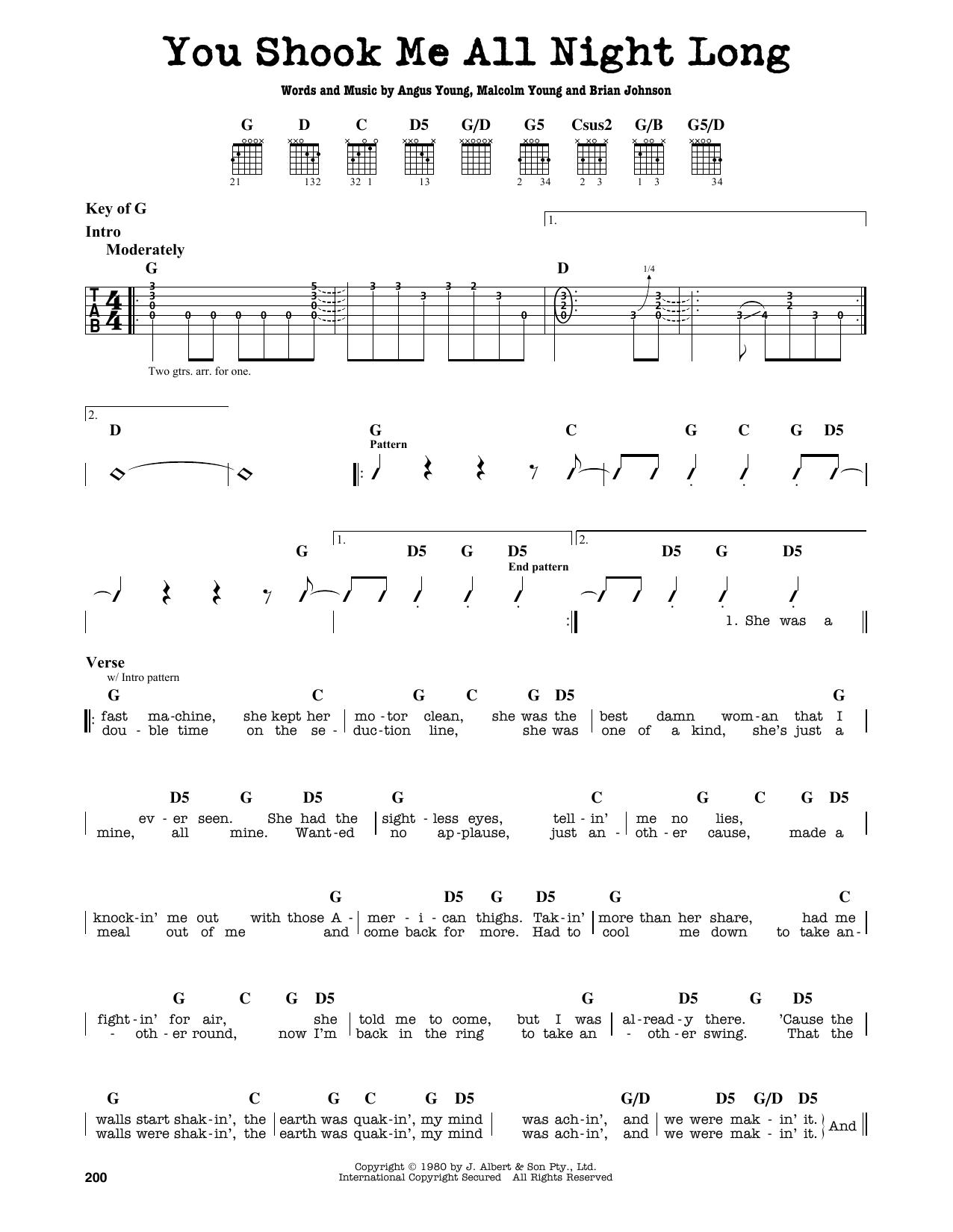 Partition autre You Shook Me All Night Long de AC/DC - Tablature Guitare Lead