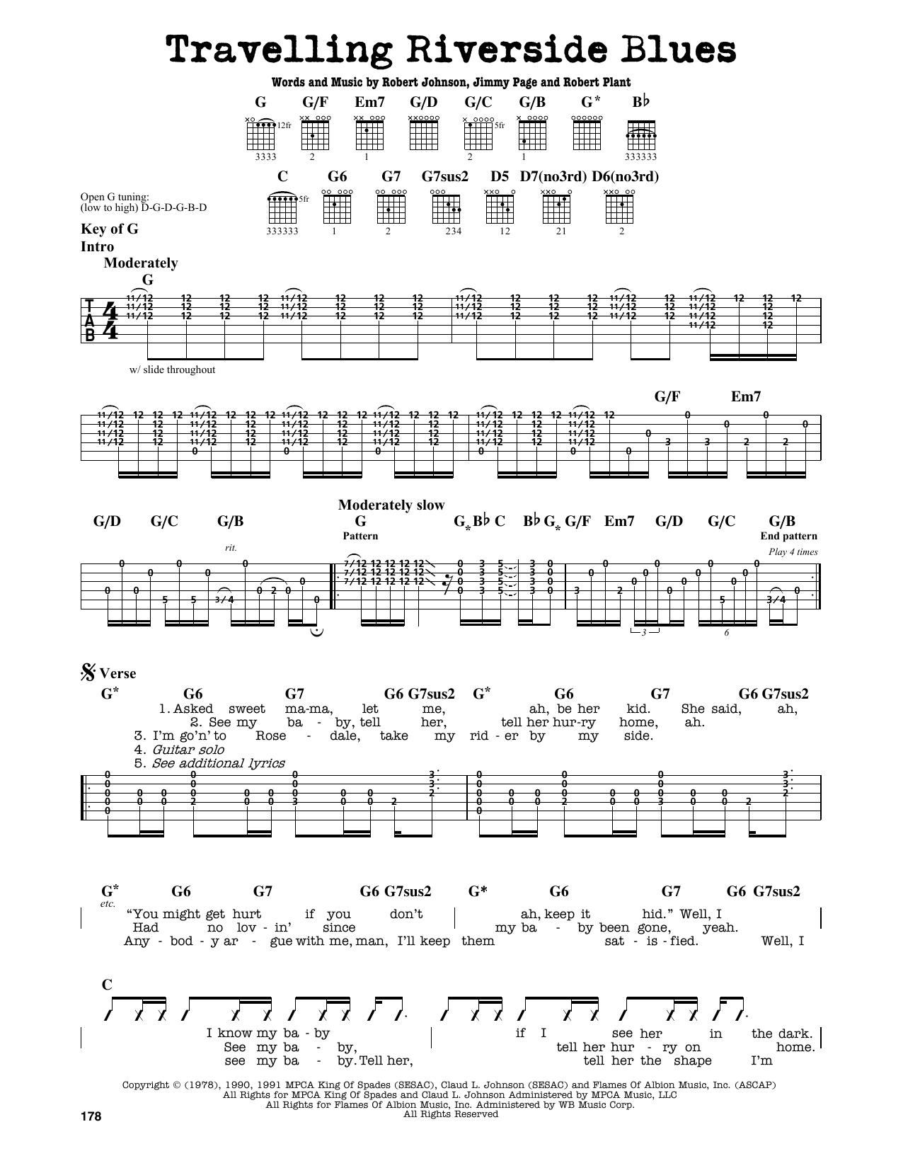 Partition autre Travelling Riverside Blues de Led Zeppelin - Tablature Guitare Lead