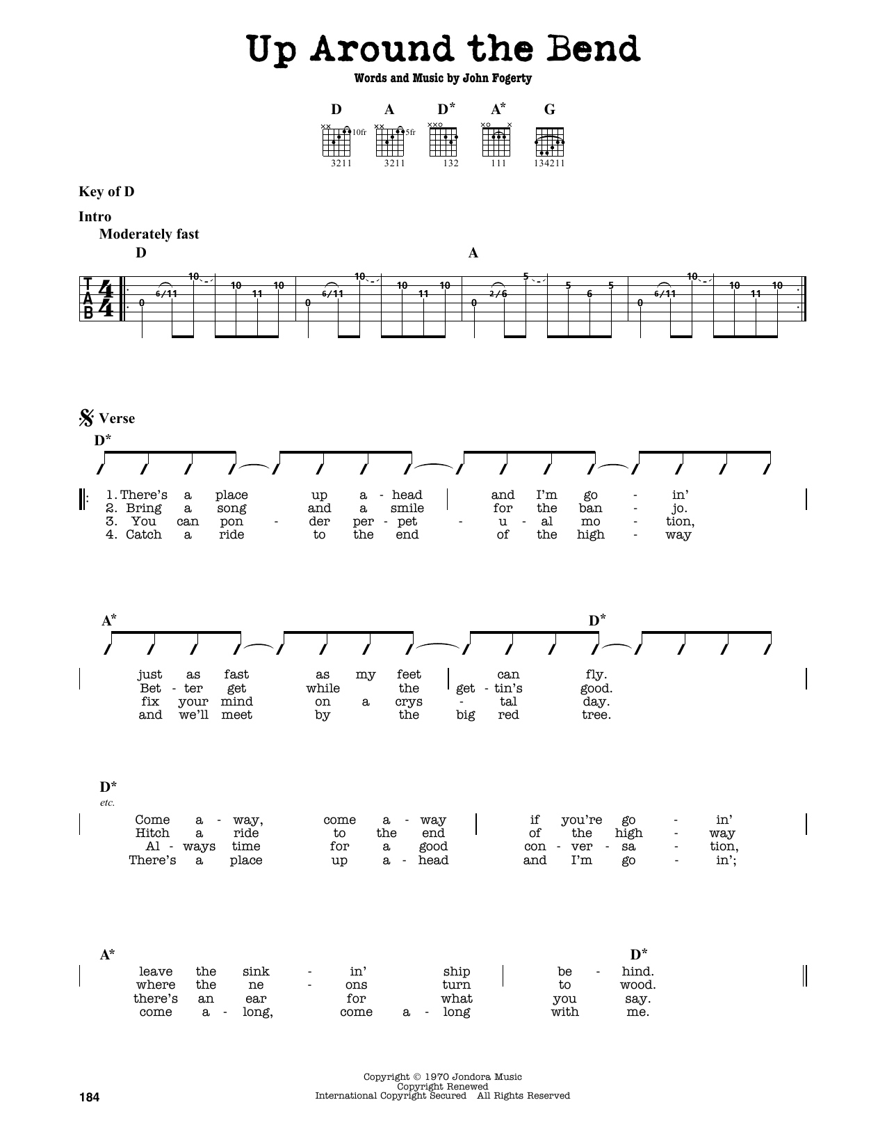 Partition autre Up Around The Bend de Creedence Clearwater Revival - Tablature Guitare Lead