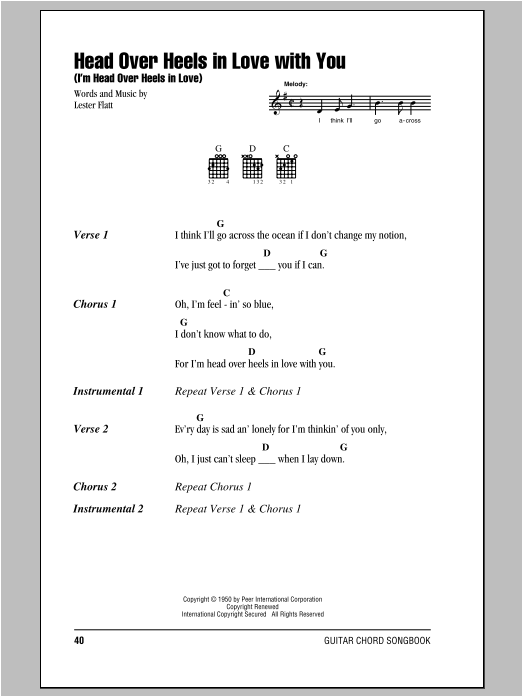 Head Over Heels In Love With You (I'm Head Over Heels In Love) sheet music for guitar solo (chords, lyrics, melody) by Lester Flatt