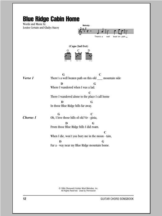 Blue Ridge Cabin Home Sheet Music By Louise Certain