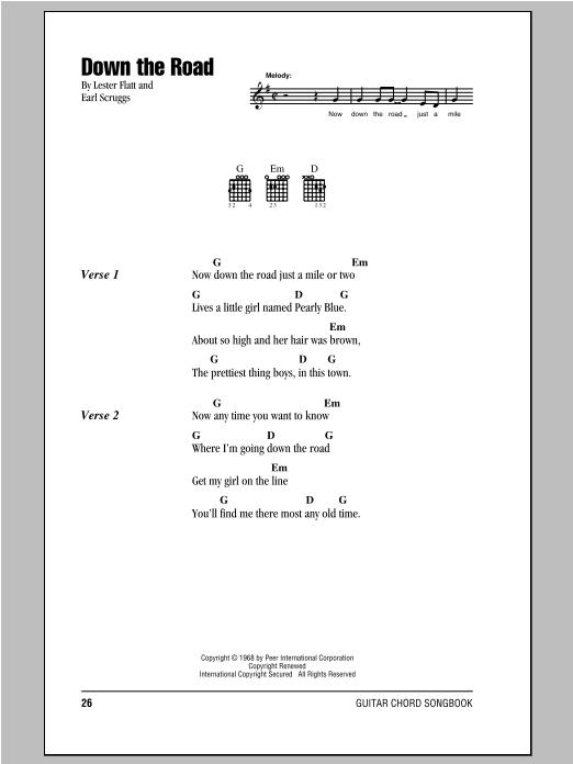 Down The Road sheet music for guitar solo (chords, lyrics, melody) by Flatt & Scruggs