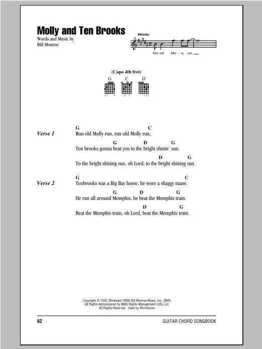 Bill Monroe Molly And Ten Brooks Lyrics Chords