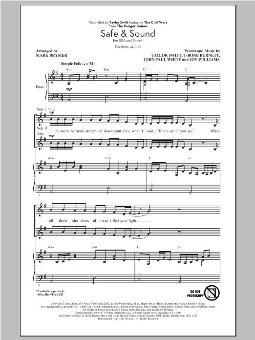 Sheet Music Digital Files To Print - Licensed The Civil Wars Digital ...