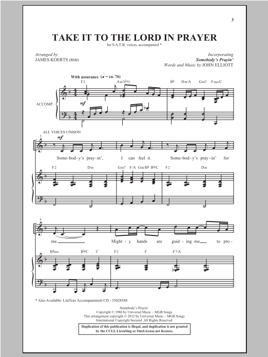 Somebody's Prayin' sheet music for choir and piano (SATB) by John G. Elliot