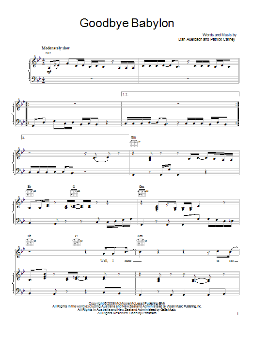 Goodbye Babylon sheet music for voice, piano or guitar by Patrick Carney