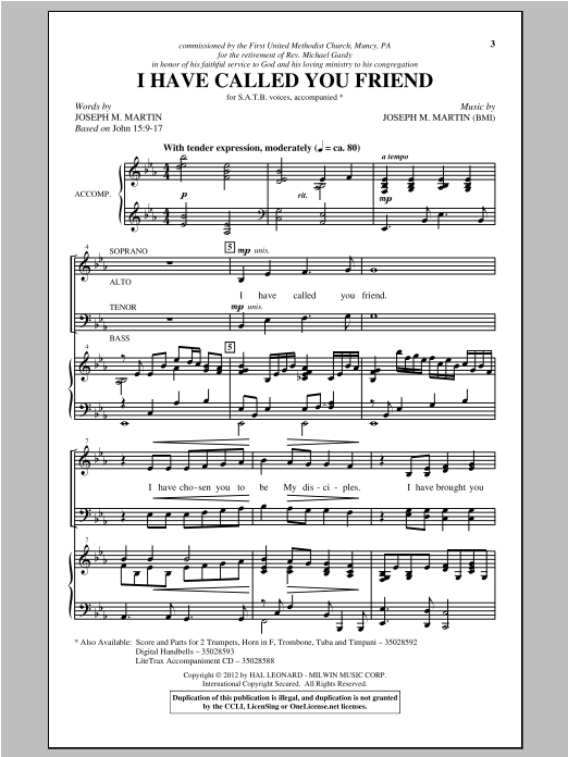 Partition chorale I Have Called You Friend de Joseph Martin - SATB