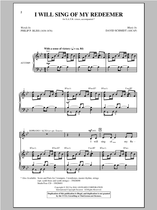 Partition chorale I Will Sing Of My Redeemer de David Schmidt - SATB