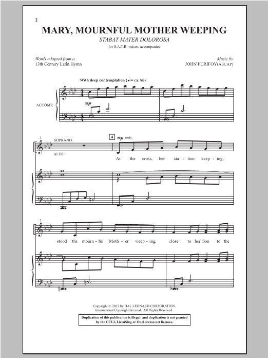 Partition chorale Mary, Mournful Mother Weeping de John Purifoy - SATB