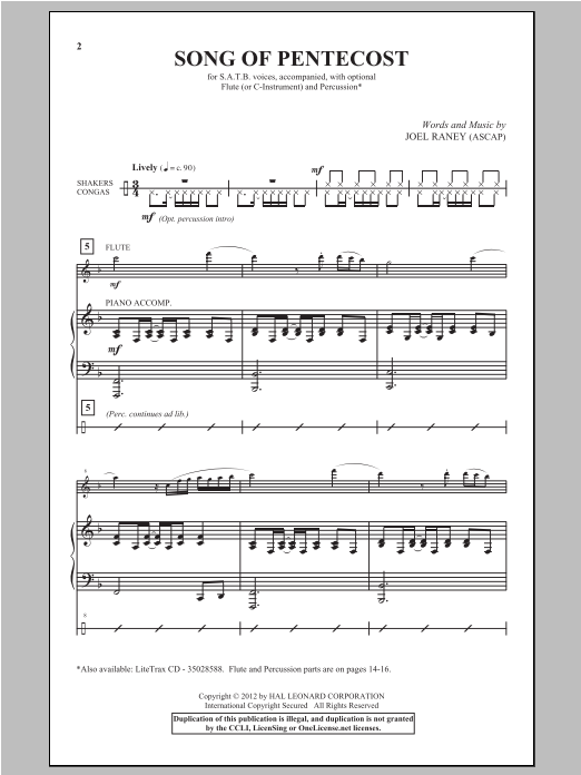 Partition chorale Song Of Pentecost de Joel Raney - SATB