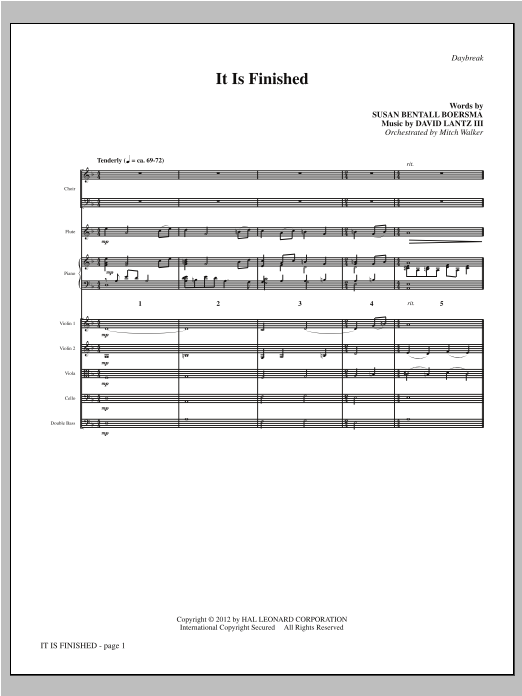 It Is Finished (complete set of parts) sheet music for orchestra/band by David Lantz