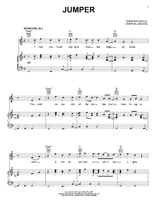 Jumper sheet music by Third Eye Blind (Piano, Vocal ...