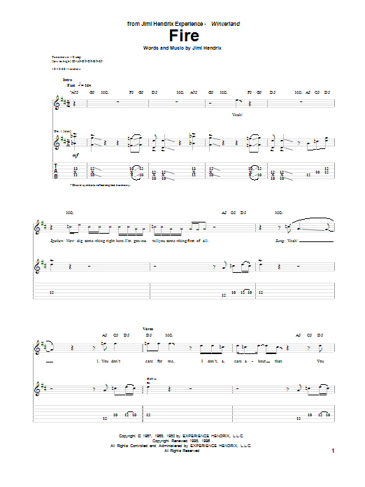 Tablature guitare Fire de Jimi Hendrix - Tablature Guitare