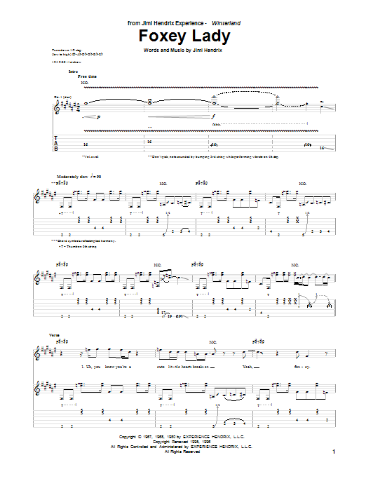 Tablature guitare Foxey Lady de Jimi Hendrix - Tablature Guitare