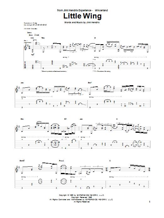 Tablature guitare Little Wing de Jimi Hendrix - Tablature Guitare