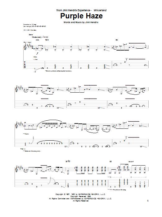 Tablature guitare Purple Haze de Jimi Hendrix - Tablature Guitare