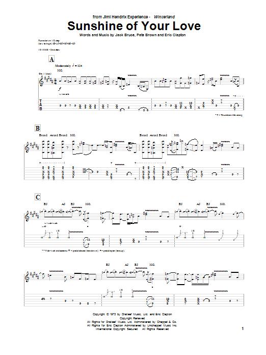 Tablature guitare Sunshine Of Your Love de Jimi Hendrix - Tablature Guitare