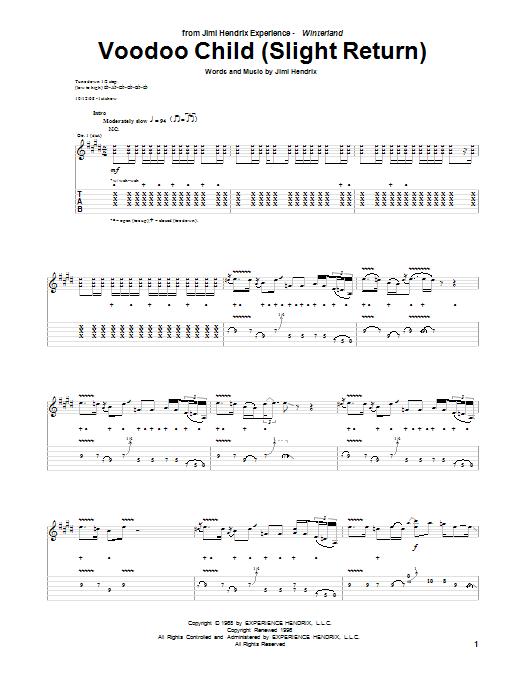Tablature guitare Voodoo Child (Slight Return) de Jimi Hendrix - Tablature Guitare