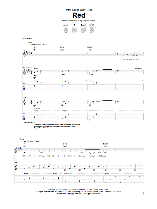 Tablature guitare Red de Taylor Swift - Tablature Guitare