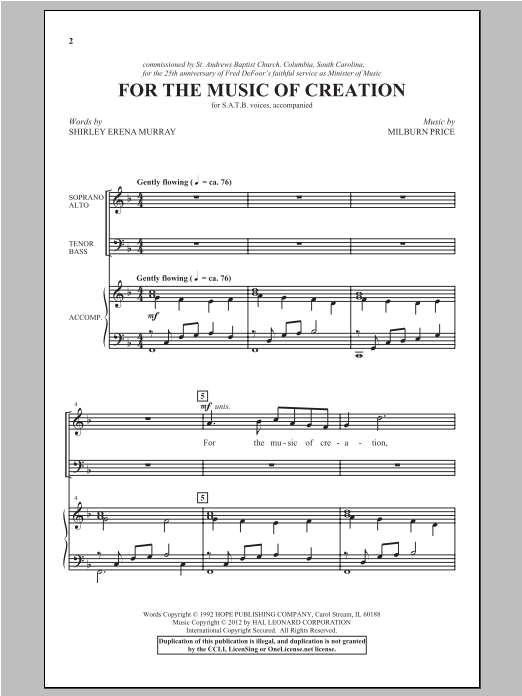 Partition chorale For The Music Of Creation de Shirley Erena Murray - SATB