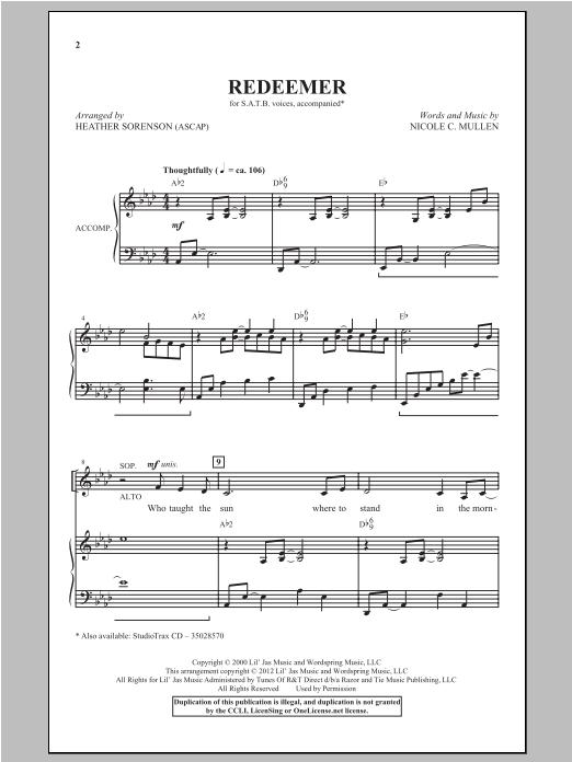 Partition chorale Redeemer de Heather Sorenson - SATB