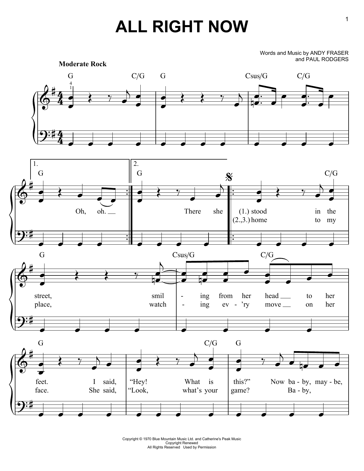 All Right Now Sheet Music By Free (Easy Piano