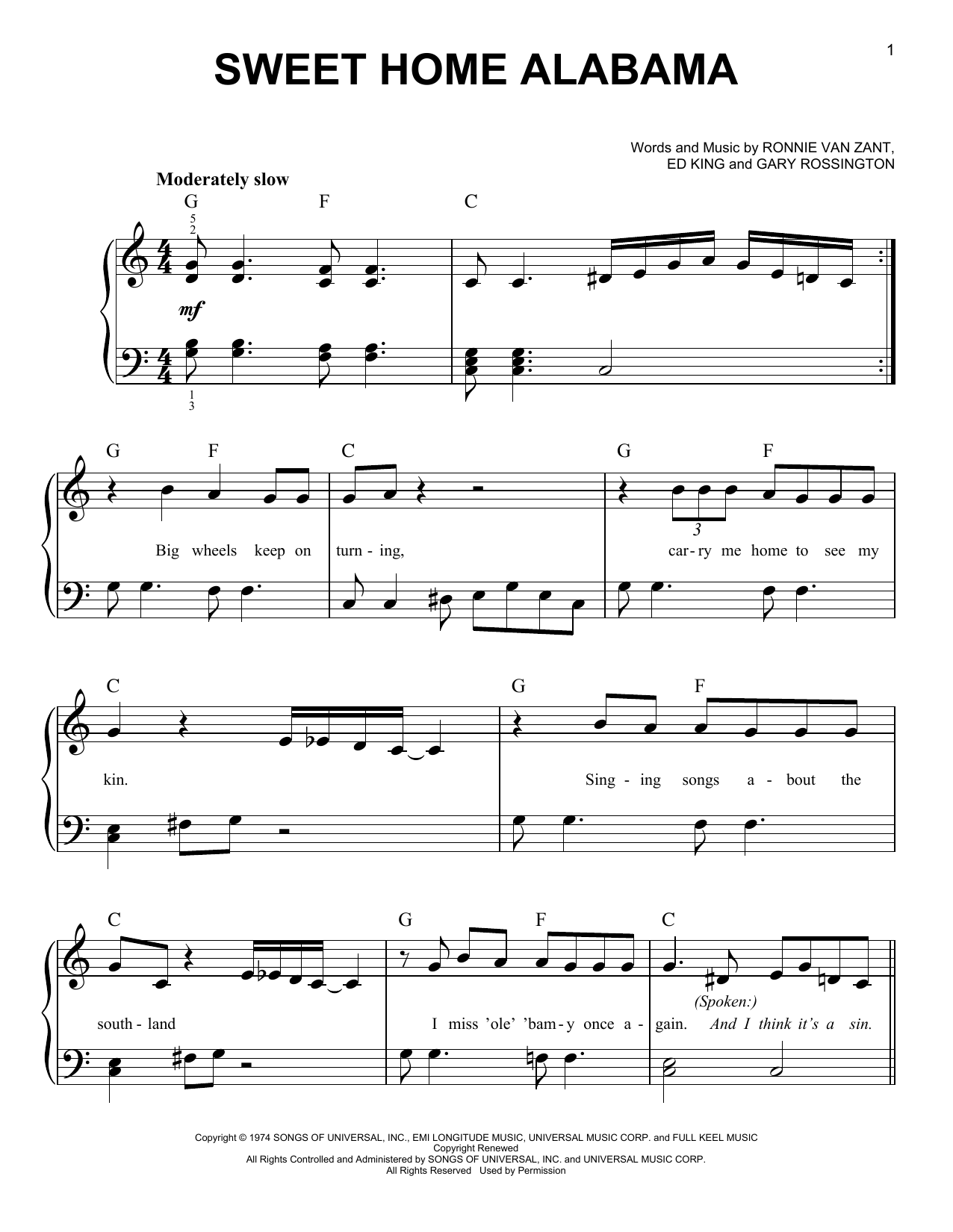 Sweet Home Alabama sheet music for piano solo (chords) by Lynyrd Skynyrd