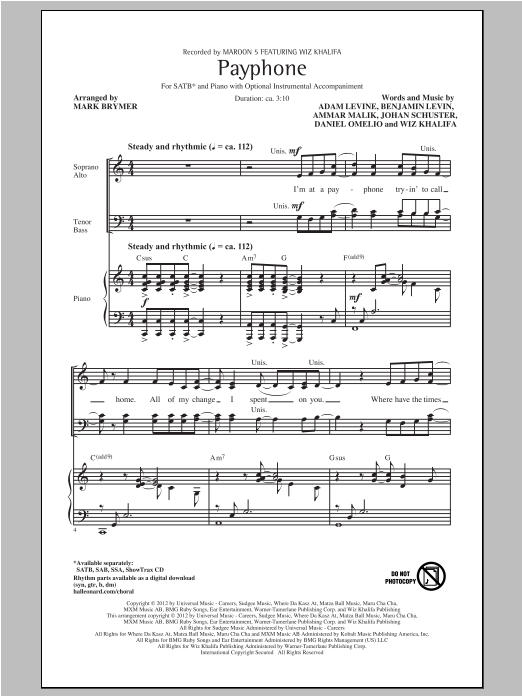 Partition chorale Payphone de Maroon 5 - SATB