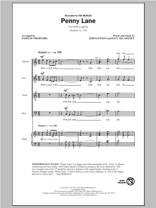 Partition chorale Penny Lane de Paris Rutherford - SATB