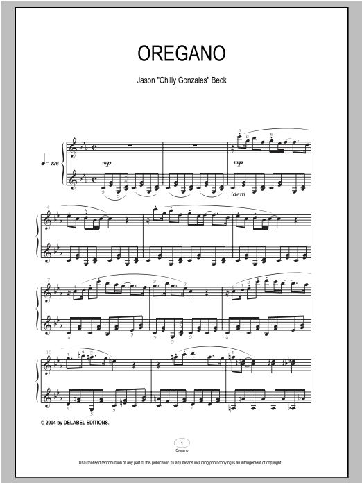 Oregano sheet music for piano solo by Chilly Gonzales