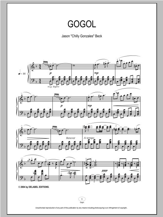 Gogol sheet music for piano solo by Chilly Gonzales