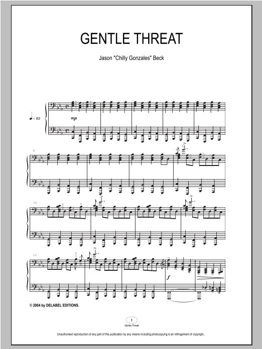 Gentle Threat sheet music for piano solo by Chilly Gonzales