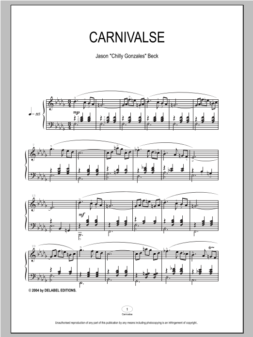 Carnivalse sheet music for piano solo by Chilly Gonzales