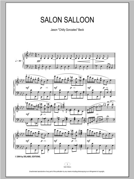 Partition piano Salon Salloon de Chilly Gonzales - Piano Solo