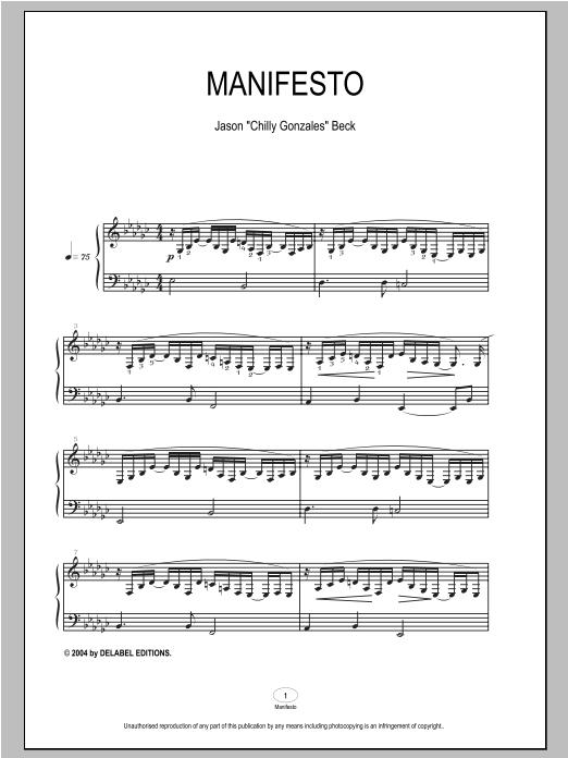 Partition piano Manifesto de Chilly Gonzales - Piano Solo