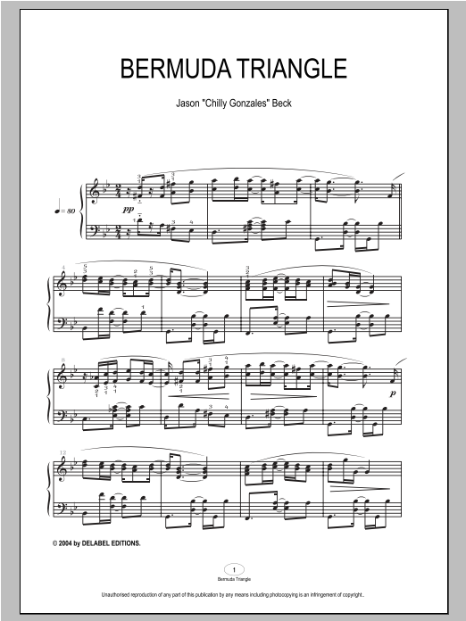 Bermuda Triangle sheet music for piano solo by Chilly Gonzales