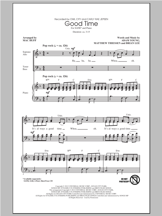 Partition chorale Good Time de Owl City - SATB