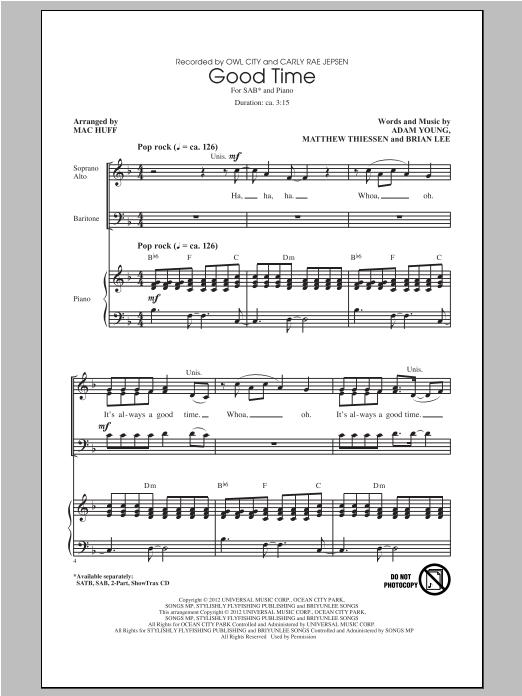 Partition chorale Good Time de Owl City - SAB