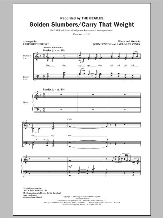Partition chorale Golden Slumbers de Paris Rutherford - SATB