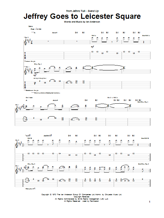 Tablature guitare Jeffrey Goes To Leicester Square de Jethro Tull - Tablature Guitare